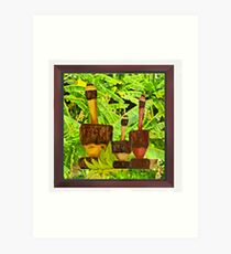 Green Plantains Mortar Basins Art Print