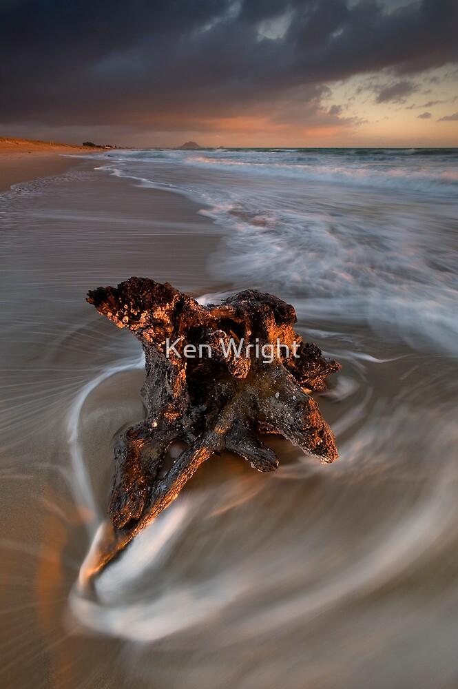 Papamoa anchored stump dawn by Ken Wright