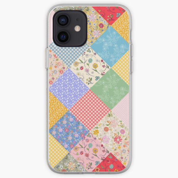 Happy cottage patchwork diamonds by Tea with Xanthe iPhone Soft Case