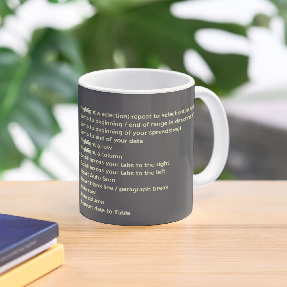 First Coffee. Then I'll Excel (+ Keyboard Shortcut Cheat Sheet) Coffee Mug Mug
