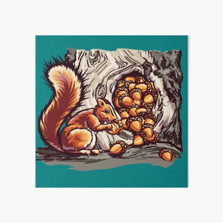Rich Squirrel With Nuts Art Board Print