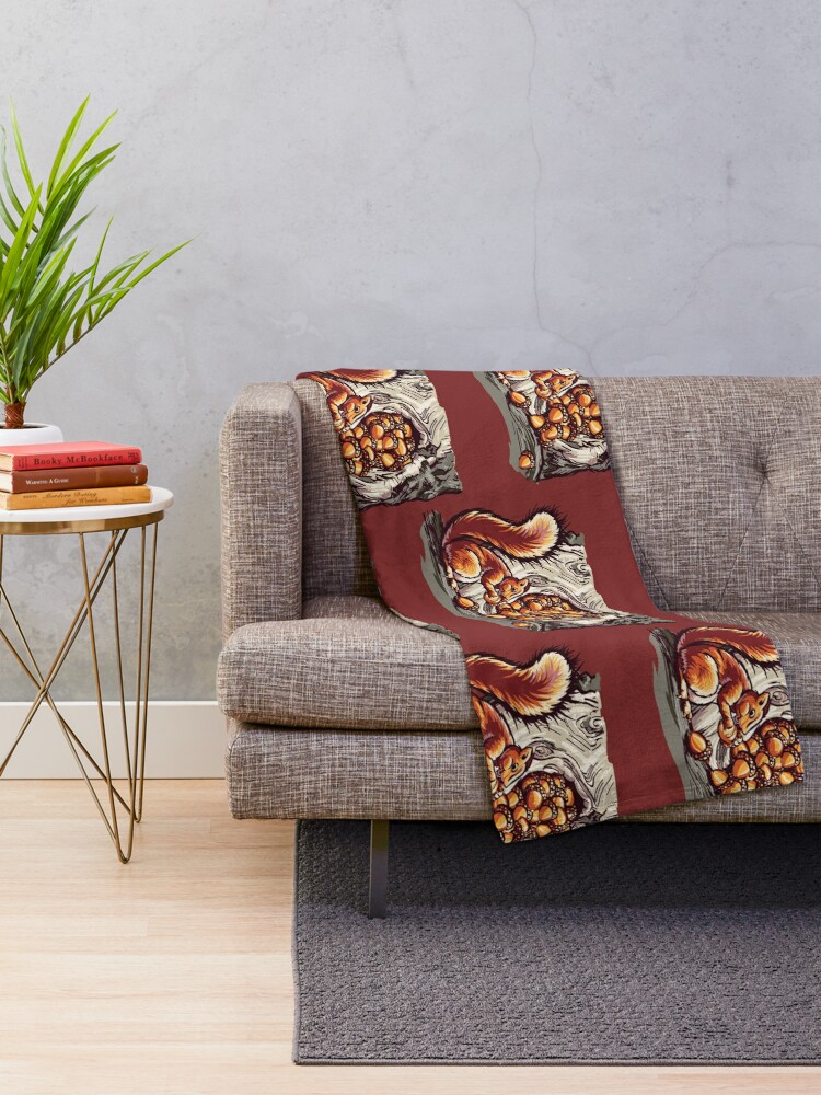 Alternate view of Rich Squirrel With Nuts Throw Blanket
