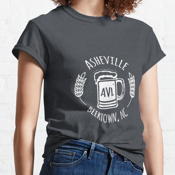 Asheville Beertown, NC - White on Bluegrey Classic T-Shirt