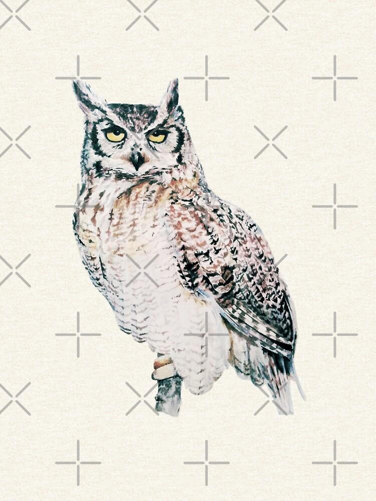 Great Horned Owl - watercolour bird portrait by EmilyBickell