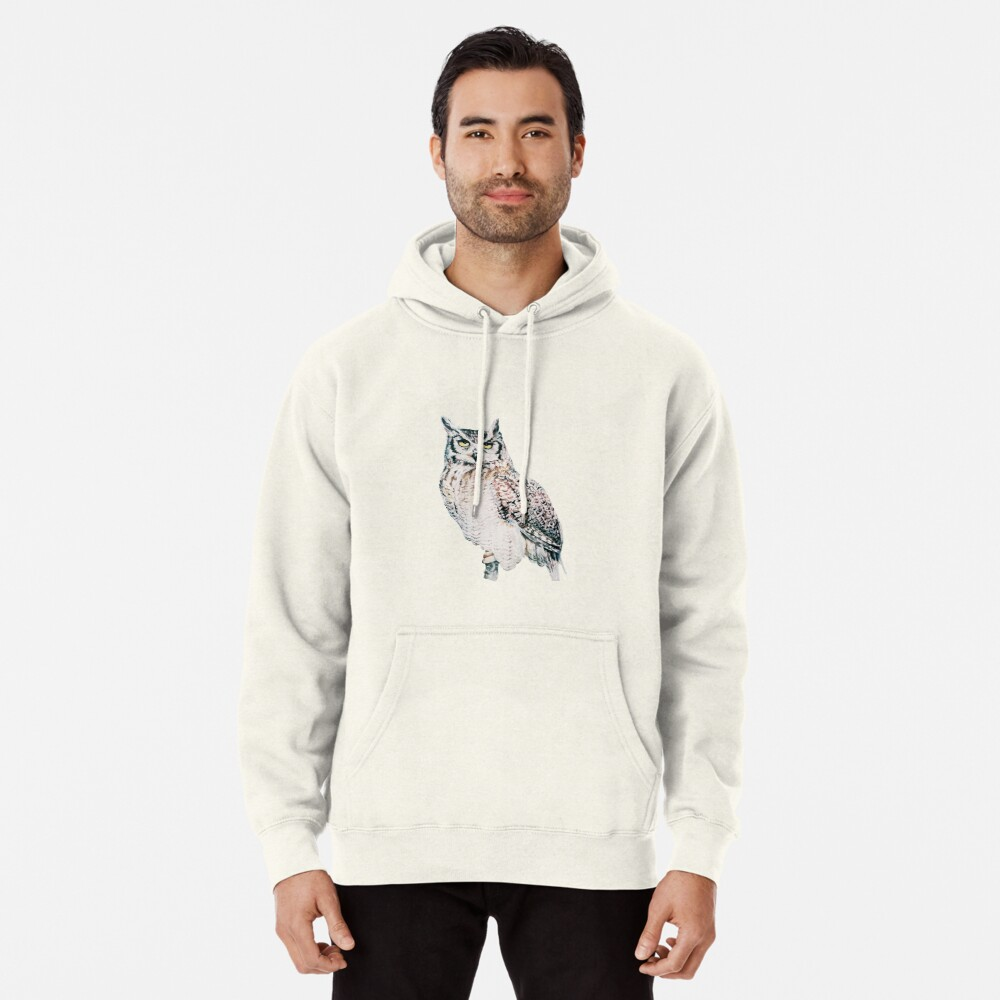 Great Horned Owl - watercolour bird portrait Pullover Hoodie