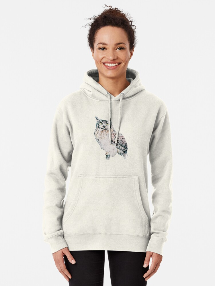 Alternate view of Great Horned Owl - watercolour bird portrait Pullover Hoodie
