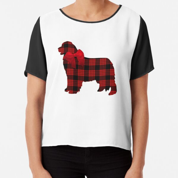Red Plaid Newfie with Bow Chiffon Top