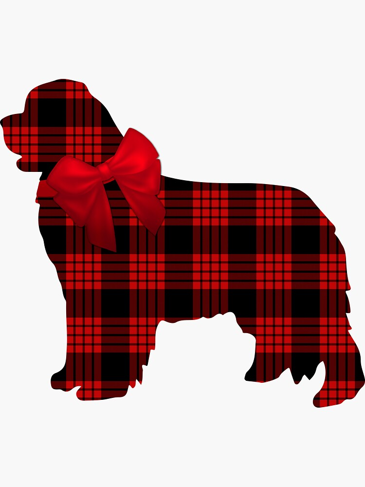 Red Plaid Newfie with Bow by itsmechris