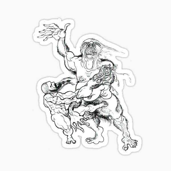 Beowulf and Grendel Sticker