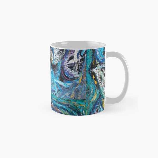 Blue Lily Abstract Art Classic Mug