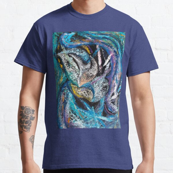 Blue Lily Abstract Art Classic T-Shirt