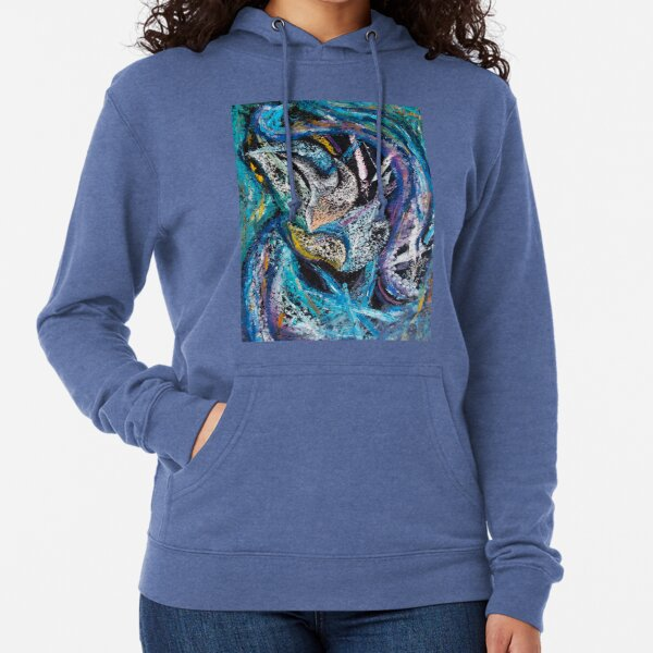 Blue Lily Abstract Art Lightweight Hoodie
