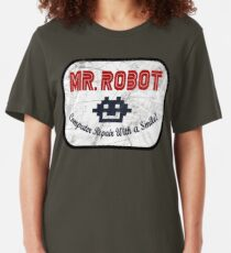 Mr Robot - Computer Repair With A Smile Slim Fit T-Shirt