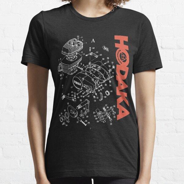Hodaka 1970s Motorcycle Dirtbike Black Exploded Engine View Essential T-Shirt
