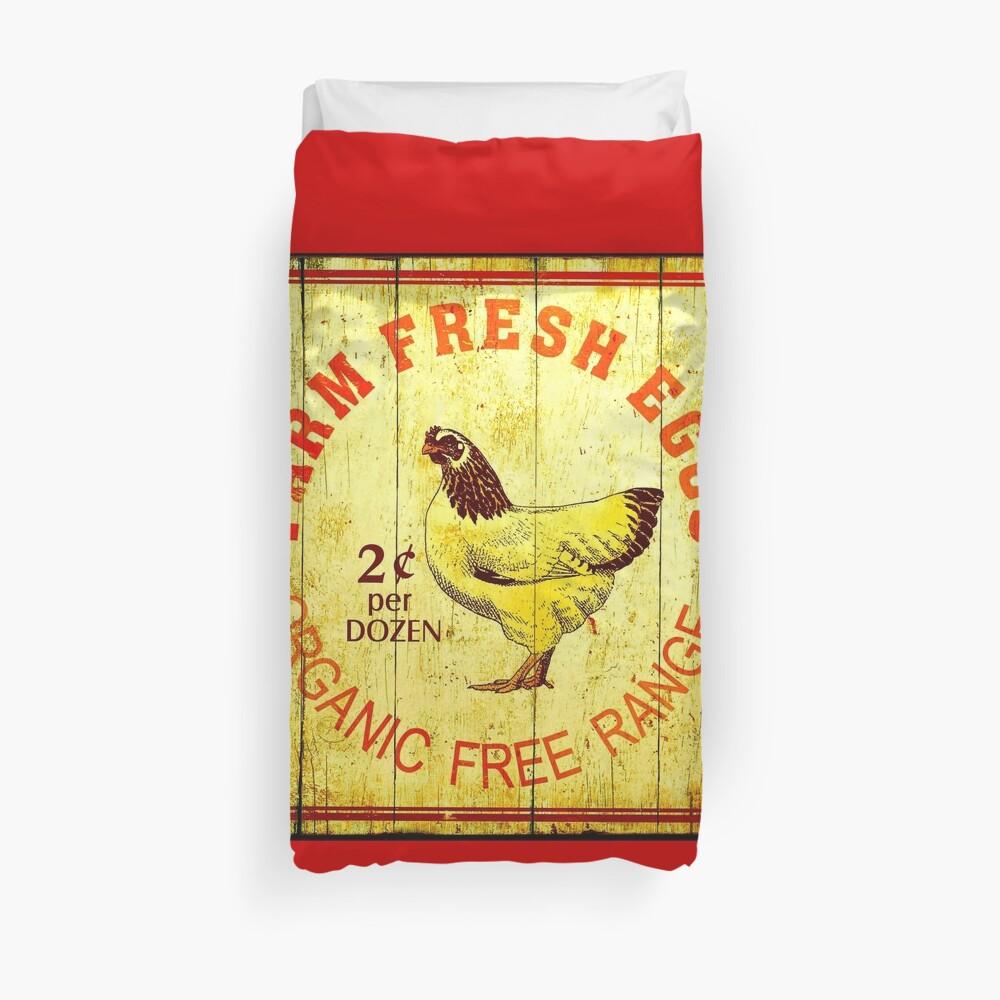 FARM FRESH EGGS: Vintage Advertising Print Duvet Cover