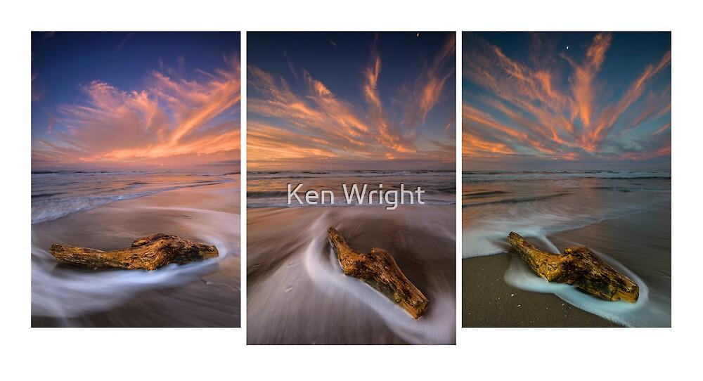 Deadwood ~ Papamoa Electric Dusk Triptych by Ken Wright