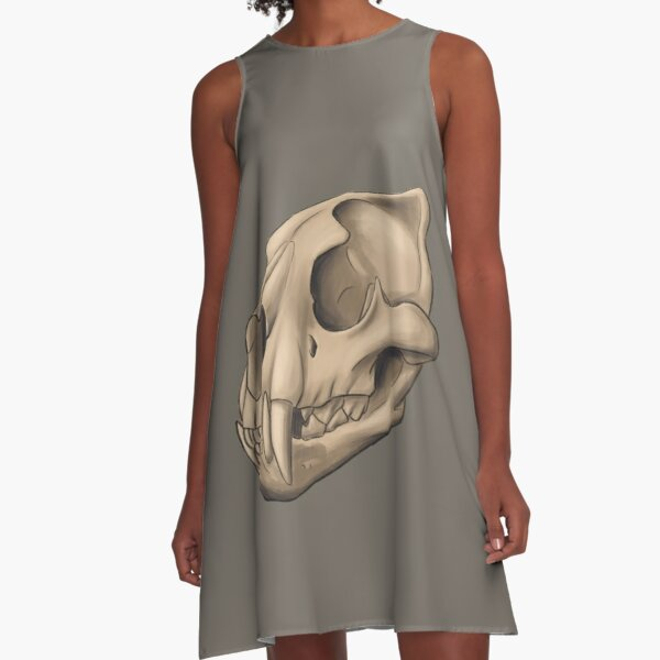 Copy of Anatomically correct adult african lion skull A-Line Dress