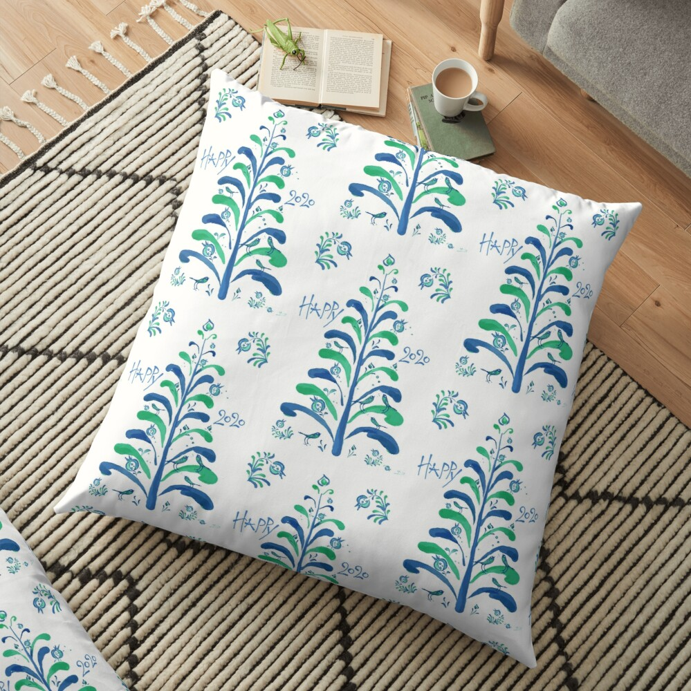 HAPPY 2020! Merry Christmas and Good Luck! Floor Pillow