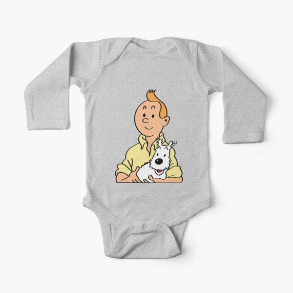 Tin tin and Snowy cartoon Long Sleeve Baby One-Piece