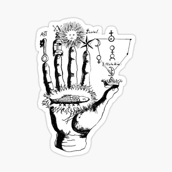 Medieval Alchemy Hand Symbols Sticker