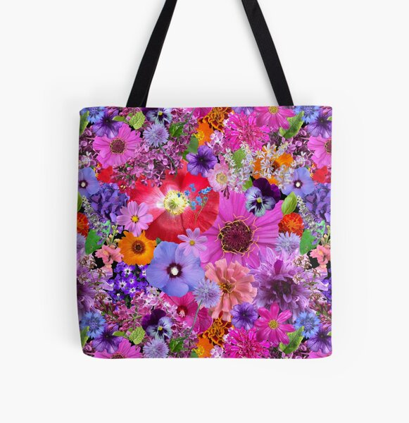 Flower Collage by Tea with Xanthe All Over Print Tote Bag