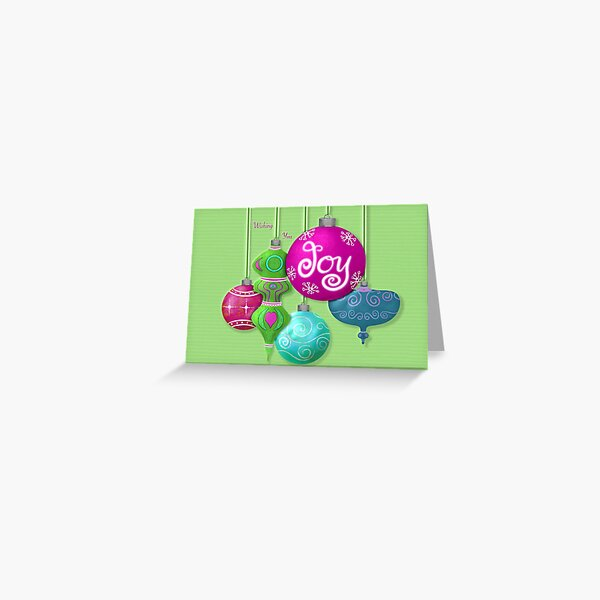 Wishing You Joy Brightly Colored Ornaments Greeting Card Bright Green Greeting Card