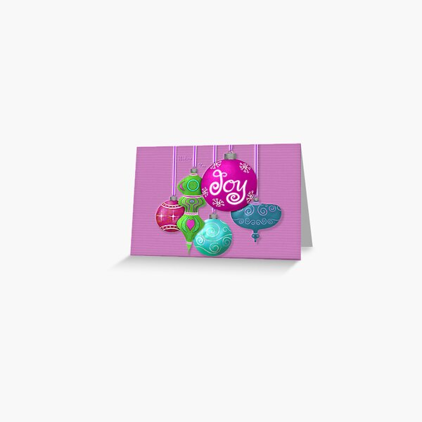 Wishing You Joy Brightly Colored Ornaments Greeting Card  Greeting Card
