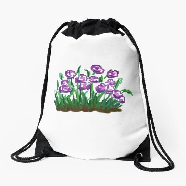 Purple flowers  Drawstring Bag