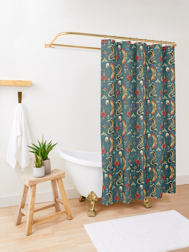 Alternate view of Blue Bold Eyes Pattern Shower Curtain