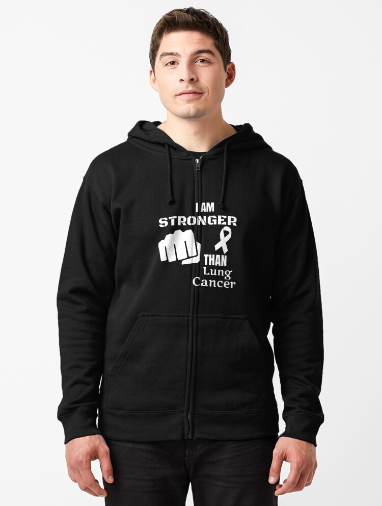 Mens Pullover Hoodie Sweatshirt with Pockets Survivor Stronger Than Cancer