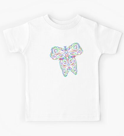 Rainbow Butterfly on White Kids Clothes