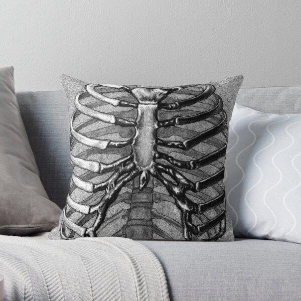 Black and White Skeleton Rib Cage Throw Pillow