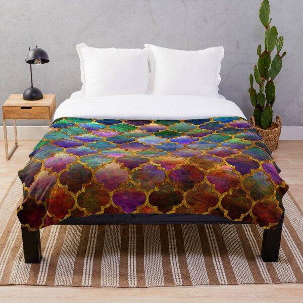 Arabic moroccan mosaic pattern Throw Blanket