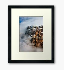 """Clouds surrounding the """"Towers"""" of Astraka Framed Print"""