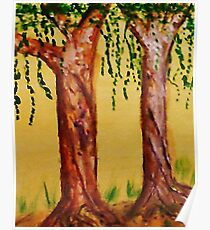 Old Trees with Character, watercolor Poster