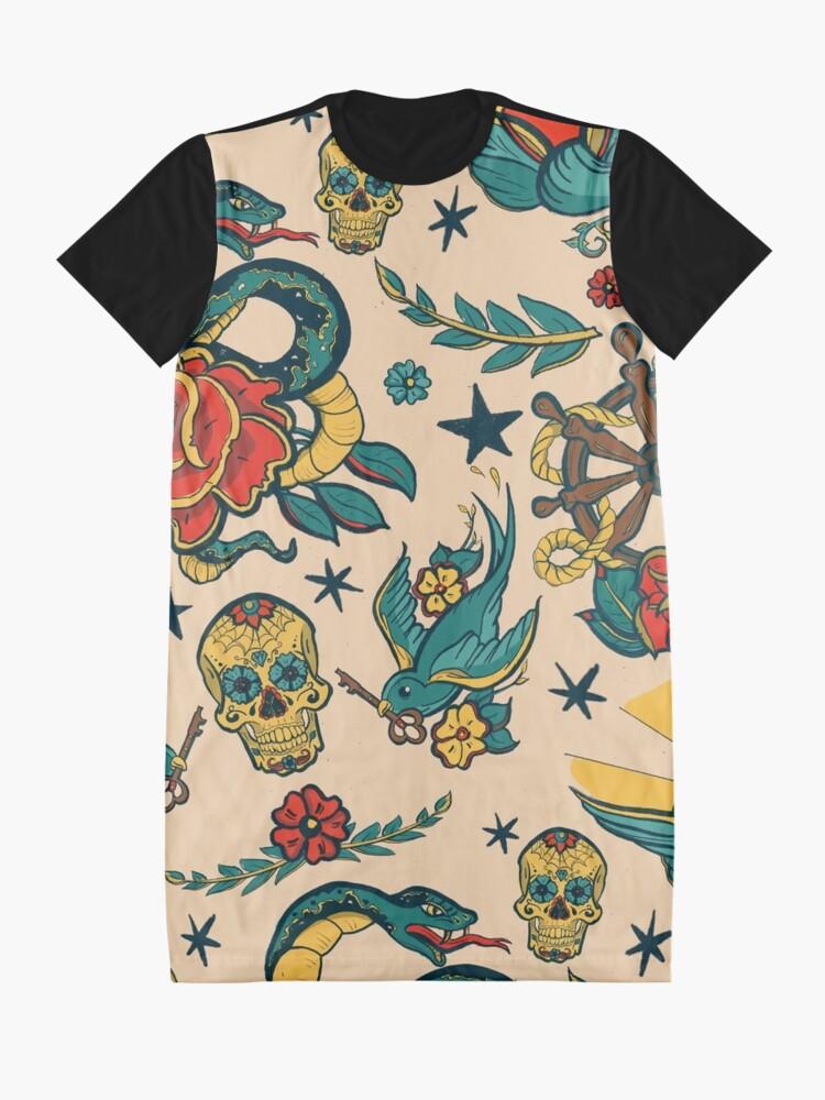 Alternate view of Punk Tattoo Pattern Design and Illustration Graphic T-Shirt Dress