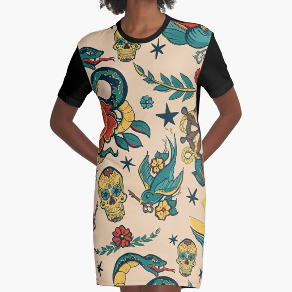 Punk Tattoo Pattern Design and Illustration Graphic T-Shirt Dress