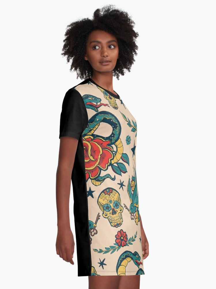 Alternate view of Punk Tattoo Pattern Design and Illustration Graphic T-Shirt Dress