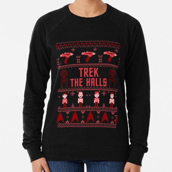 Star Trek Trek The Halls Logo Ugly Christmas Sweater Lightweight Sweatshirt