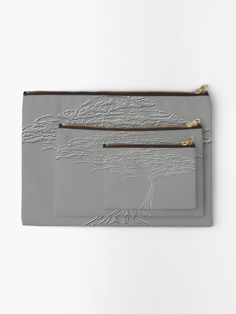 Alternate view of Silver Tree of Life , Zen African Bonsai Grey Zipper Pouch
