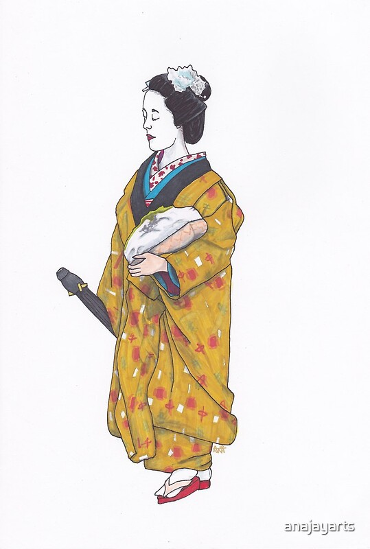 Quot Geisha In Yellow Coat Quot Posters By Anajayarts Redbubble