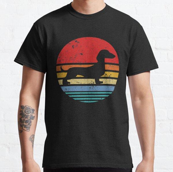 Teckel Rétro Coucher De Soleil Chien Daschund T-shirt classique