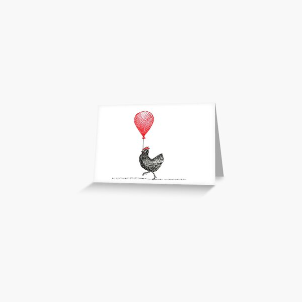 Chicken With a Balloon Greeting Card  Greeting Card