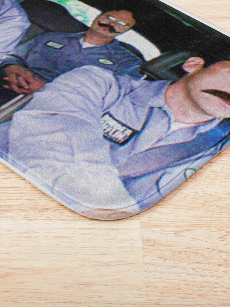 Alternate view of Jim, Dwight and Michael as Warehouse Workers  Bath Mat