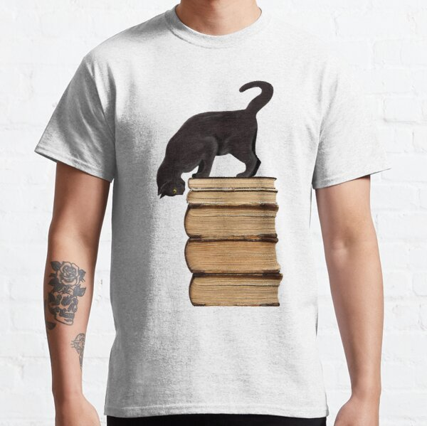 Curious Black Cat on Old Books Classic T-Shirt