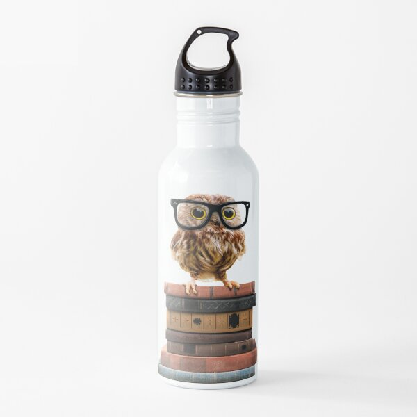 Adorable Nerdy Owl with Glasses on Books Water Bottle