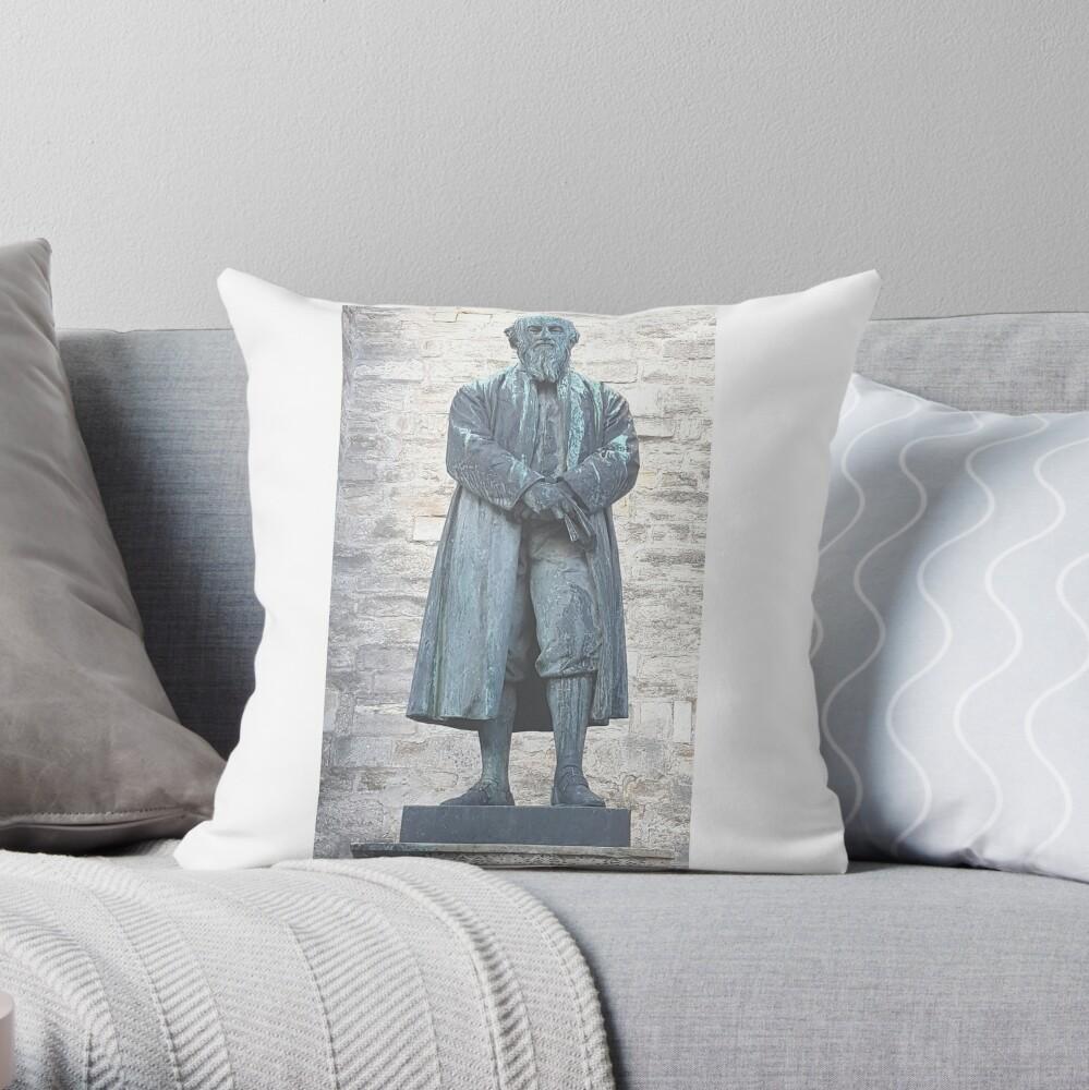 William Barnes - Poet - Statue in Dorchester Throw Pillow