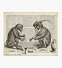 Apes Playing Poker Engraving Over Vintage Dictionary Book Page Photographic Print