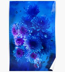 Bouquet on blue - Series 3 Photopainting Poster