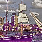 The old tall ship and modern people.. by Kornrawiee
